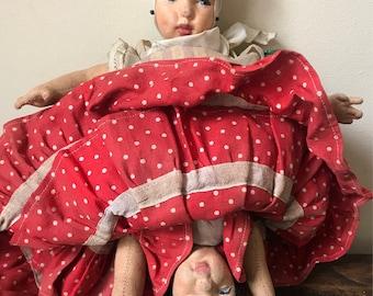 Rare Vintage 1940's Topsy Turvy Reversible Spanish Doll