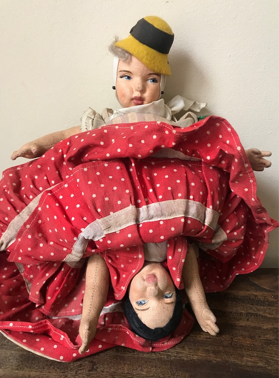 Rare Vintage 1940's Topsy Turvy Reversible Spanish Doll