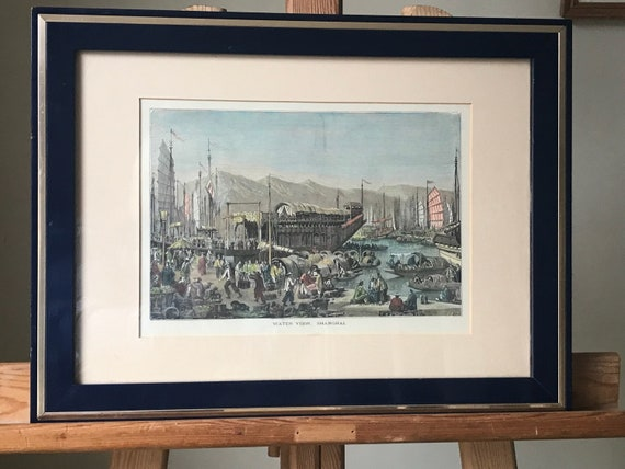 Framed 19th CenturyHand Coloured Engraving Titled Water View Shanghai