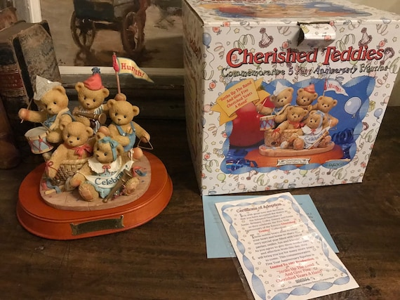 Cherished Teddies 1996 Commemorative 5 Year Anniversary 'Strike Up The Band' Figurine with Original Box