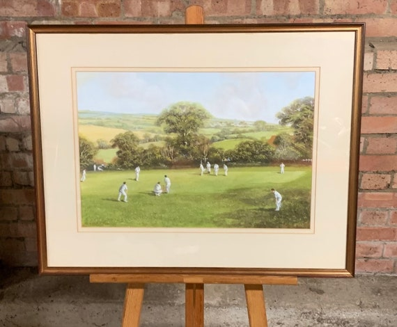 Fabulous Original Gordon Lees Cricket Watercolour Titled The First Over
