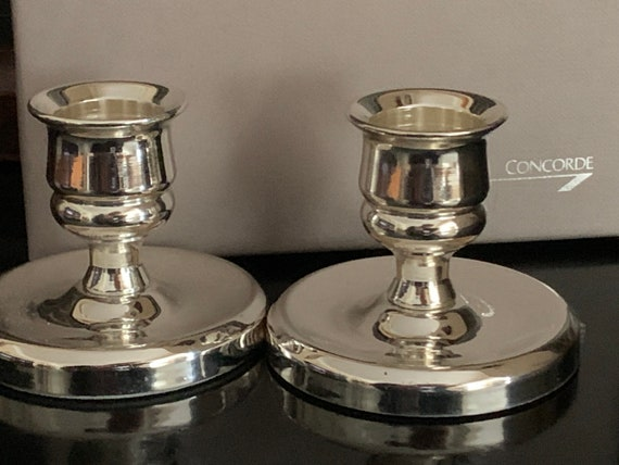 Pair of Silver Plate Concorde Memorabilia Candle Holders with Original Box