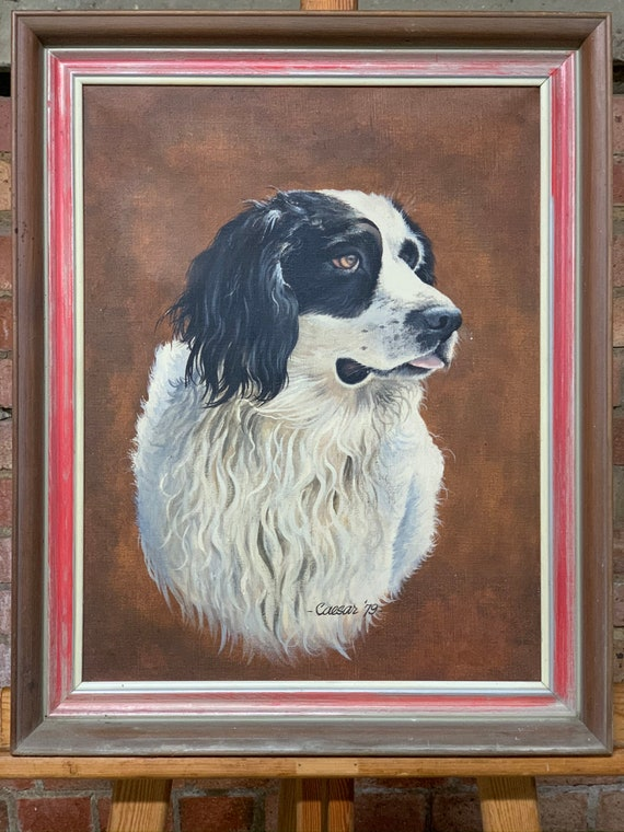 Wonderful Original Beautiful Oil Painting Of A Border Collie By John Caesar Smith dated 1979
