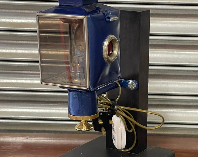 Antique Carriage Lamp Wired For Modern Day Use As A Desk Or Wall Lamp