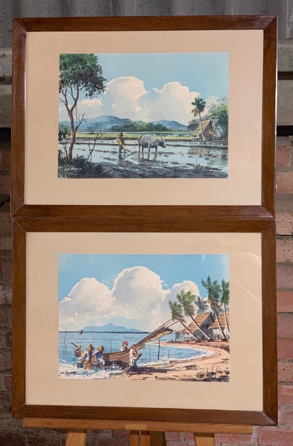 Superb Pair of Original Watercolours By Abu Bakar Ibrahim (1925-1977)