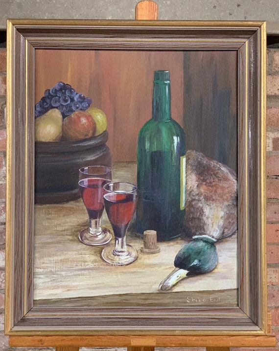 Original Still Life Oil Painting By Sheila Ball, study of a bottle of wine, 2 glasses, a bowl of fruit and a duck