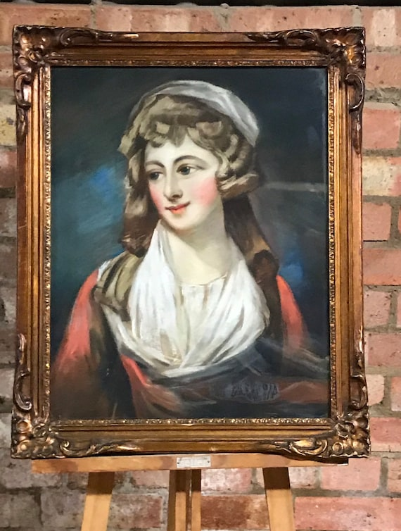 Superb Original c19th Century Pastel Portrait on Woven Paper after the 17th Century artist Jean Marc Nattier of Madame Sophie of France