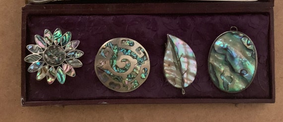 Four Vintage Silver Metal and Mother of Pearl Brooches