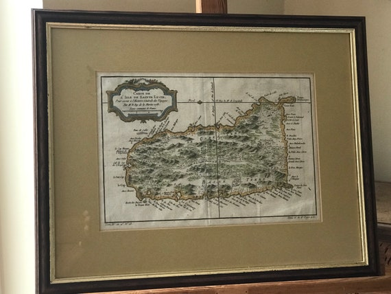 Framed & Glazed Rare Jacques Bellin's Antique Hand Coloured Engraving Map of St Lucia - Dated 1758