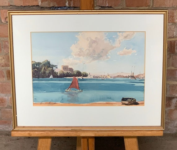 Beautiful Original Watercolour Of Boats In A Harbour Signed Lower Left