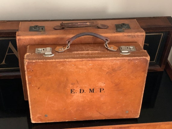 Two Vintage Circa 1930's Leather Travel CasesLovely looking and quality made cases both initialed, previously belonged to Edward Dudley Mole