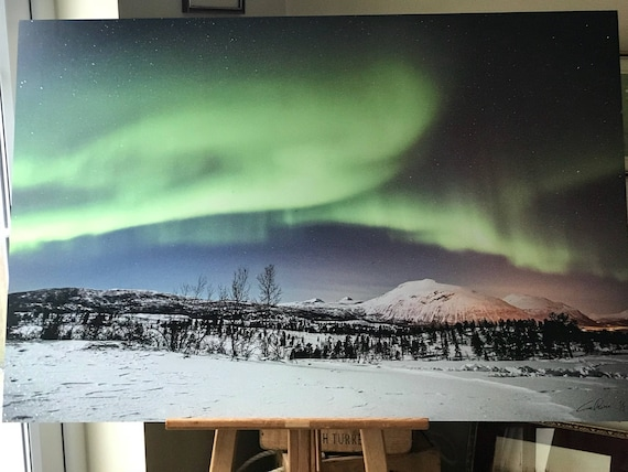 Huge Limited Edition 1/5 Photographic Print On Aluminum Of The Northern Lights (Aurora Borealis)
