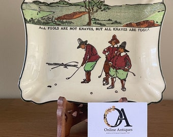 Rare Royal Doulton Crombie Golf Ceramic Tray Or Plate. Illustrated from Charles Crombies Rulse of Golf Book 'All fools are not knaves….