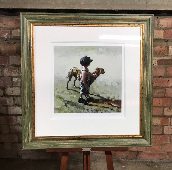 Superb Quality Limited Edition Giclée PrintTitled 'Paws for Thought' which depicts a Young Boy with his Whippet by Keith Proctor