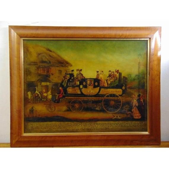 Wonderful Pair of Antique Reverse Painted Old Coaching Scenes