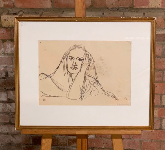 This is a wonderful  framed carbon transfer by Jankel Adler and signed by artist lower right, titled 'Head of Woman'