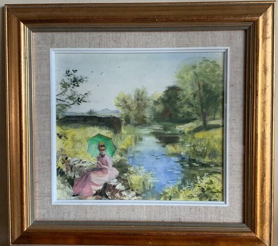 Beautiful Original Watercolour Titled 'Waiting' by John Strickland Goodall