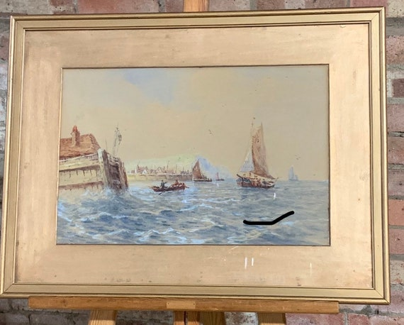19th Century Watercolour Of A Marine Harbour Scene Attributed To Robert Anderson