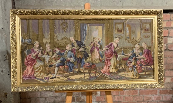 Beautiful Large Gilt Framed Flemish Style Woven Tapestry Depicting An 18th Century Scene