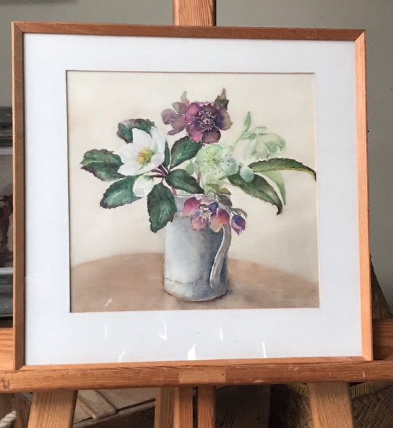Lovely Still Life Watercolour Painting titled 'Hellebores' by Celia Walker dated 1979