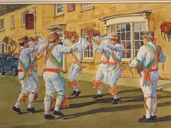 Original Watercolour 'Making Merry' Morris Dancers by Doreen Langhorn