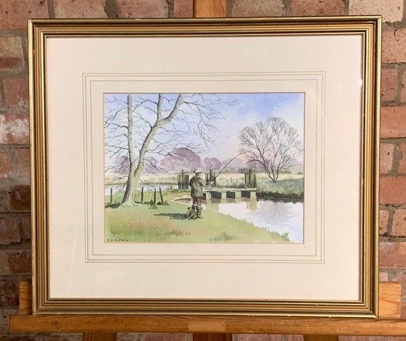 Original Watercolour Of A Man Fishing On The River By Fay Hipkin