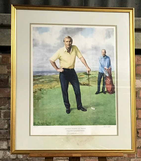 Rare Limited Edition Golf Print of Arnold Palmer at Troon by Norman Hepple. Signed by Arnold Palmer and the artist - Limited Edition 359/750