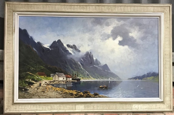 Beautiful 19th Century Oil Painting of a Lake and Mountain Scene by C Lindstrom