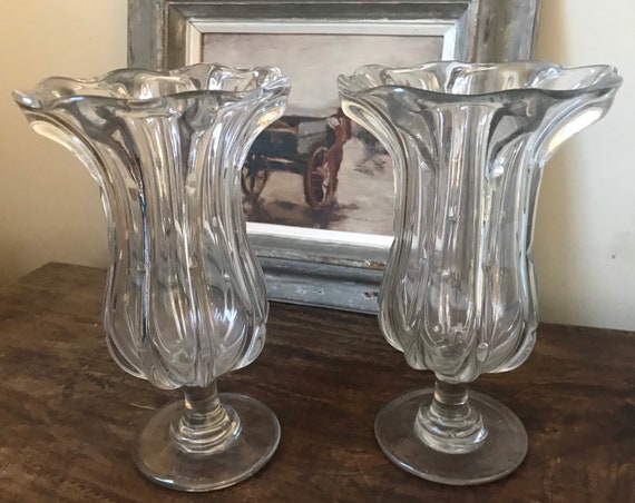 Large 19th Century Victorian Hand Blown Celery Vases