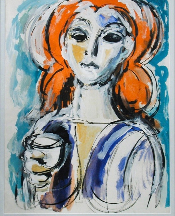 Superb Acrylic And Gouache Abstract Portrait Study By The American Artist, Paul Gerchik (1913-1998)