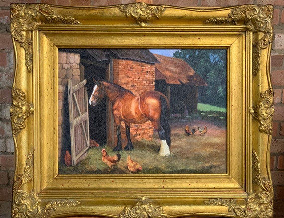 Beautiful Oil on Canvas of a Bay Cob Horse in a Farm Yard Scene Titled 'Waiting' by the British Artist, John Lewis Fitzgerald