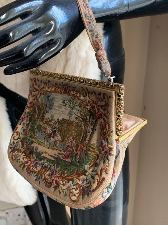 Beautiful Early 19th Century French Tapestry Ladies Purse Bag with Card Holder