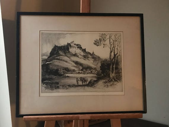 Beautiful 19th Century Framed Etching Of Stirling Castle in Scotland by Albany E Howarth