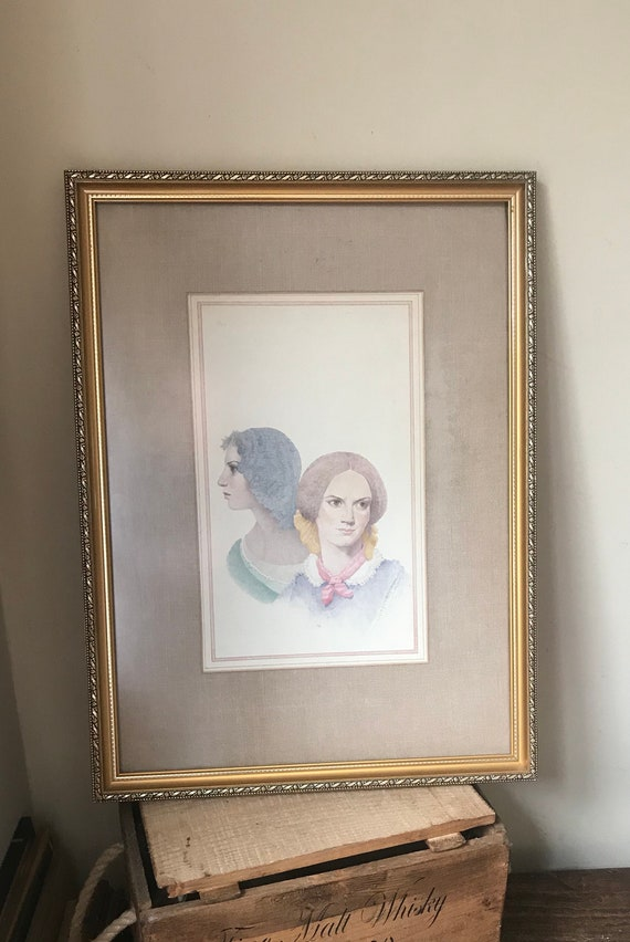 Vintage Original Watercolour Of The Bronte Sisters, Emily & Charlotte - Unsigned