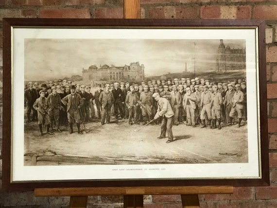 Vintage Golf Print Of The Open Golf Championship At St Andrews 1895 by Michael Brown
