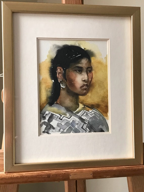 Wonderful Framed and Glazed Watercolour Portrait Titled Indian Girl By Michael Little
