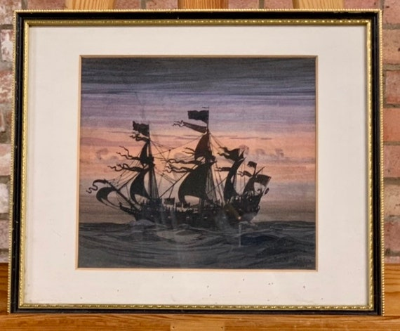 Original Watercolour titled Shippe Tyger by Harold Wyllie OBE RSMA