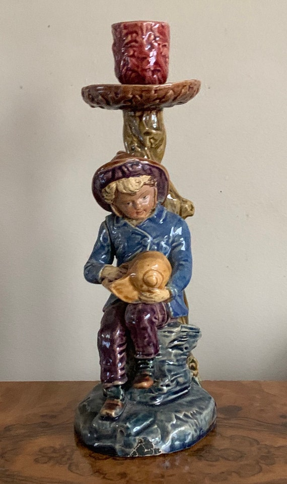 19th Century Majolica Candle Stick Holder - Boy With Shell Figurine Design