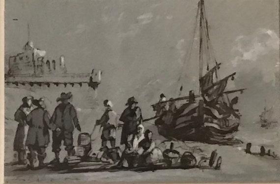Small Gilt Framed & Glazed Joseph Thomas Tuite Watercolour Of Fisherman on the beach, c1855