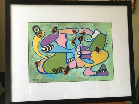 Framed And Glazed Abstract Oil Painting By Karl Barrie dated 2003
