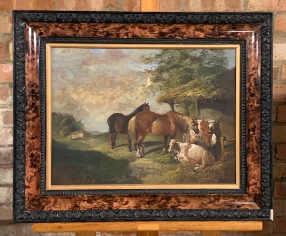 Early 19th Century Continental Oil Painting Horse & Cows In Stable Scene
