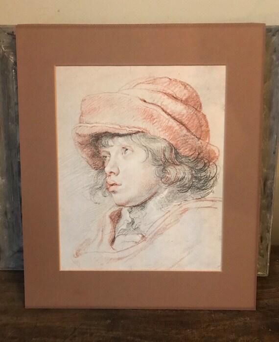 Rare Lithograph After Peter Paul Rubens Of His Son Niklas Stamped H 11 Rubens, Albertina Facsimile Verso