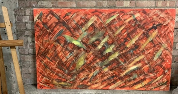 Fabulous Large Abstract Oil Painting by the Highly Collectible Artist Eleni Gagoushi