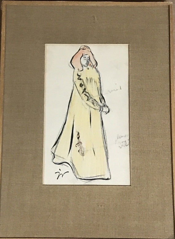 Rare Original Watercolour by the French Artist Jacques Villon Monogrammed Lower
