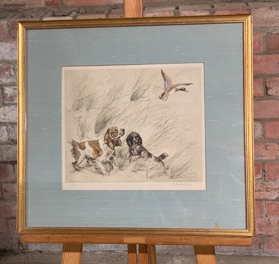 Wonderful Limited Edition Coloured Etching Of Spaniels By George Vernon Stokes (1873-1954)