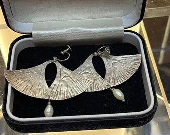 Beautiful Vintage Silver Art Deco Style Earrings by the Edinburgh Jeweller and Silversmith Sheana Stephen