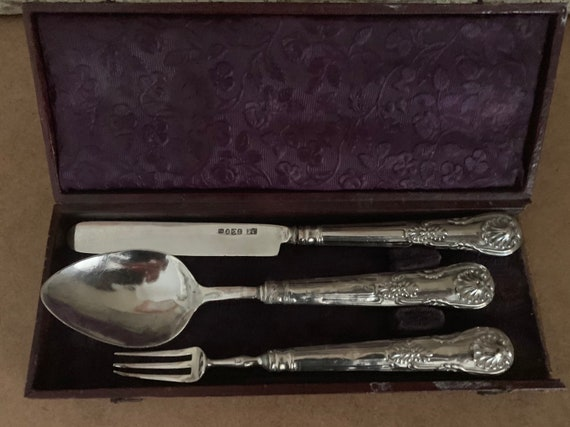 Fabulous & Wonderfully Decorative 1837 Silver Hallmarked for Birmingham, by maker JC, Cased Picnic Cutlery Set