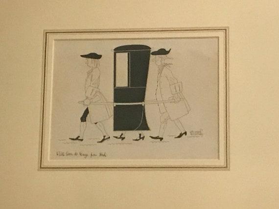 Wonderful Framed Nicholas Bentley Pen & Ink 'The Sedan Chair'