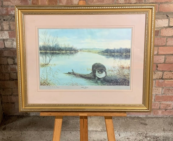 Fabulous Large Gilt Framed Limited Edition 49/500 Print Of An Otter 'Still Waters'