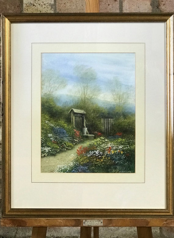 Wonderful Original early 20th Century Painting of a Beautiful Floral Garden with a Well